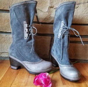 🌹JAMBU Blue/Gray Suede Riviera Boots Sz 8.5 EUC
